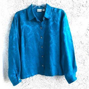 Luscious peacock blue linen/silk Chico's blouse